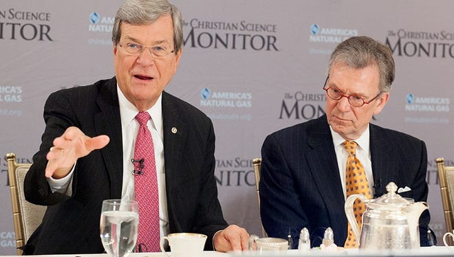 Former Mississippi Republican Sen. Trent Lott, left, and former South Dakota Democratic Sen. Tom Daschle attend a breakfast hosted by the Christian Science Monitor on Thursday in Washington.