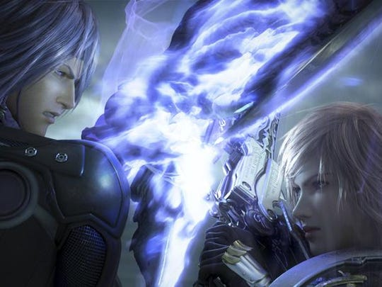 """Caius, left, and Lightning during the intro of """"Final Fantasy XIII-2."""""""
