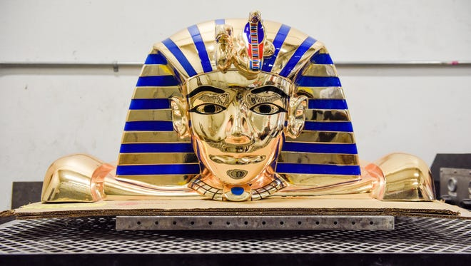 A 3D pharaoh's head used on the top of a gambling machine sits in the Creative Surfaces facility. Creative Surfaces, a Sioux Falls-based family business creates signs, countertops and casework for clients across the nation.