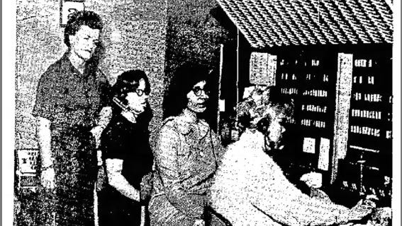 HELLO,THERE-From left: Merle Ayer, assistant manager of four telephone answering services in El Paso; Margaret Bencomo, Pat Espinosa, and Carol Barnwell, the operators who man the telephones on a 24-hour basis.