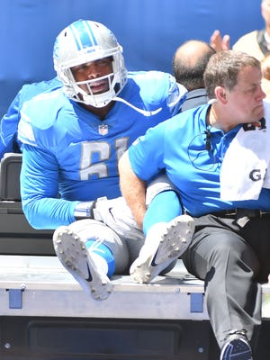 Lions defensive lineman Kerry Hyder is carted off the field after an injury in the first quarter Sunday against Indianapolis.