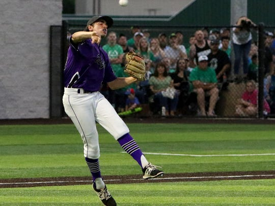 Abilene Wylie's Jaxon Hansen throws to first for the