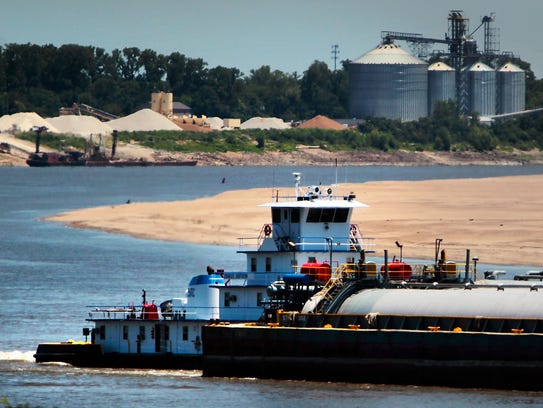 June 27, 2012 Barge traffic passes down the Mississippi