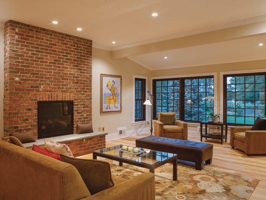 Throughout the home, the floors are mixed-length pieces of hickory.
