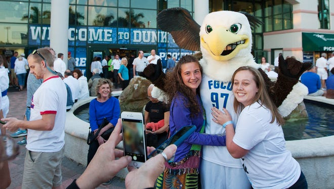 FGCU mascot Azul the Eagle greets fans Sunday before the start of the men's A-Sun final against Stetson at Alico Aren in Fort Myers.
