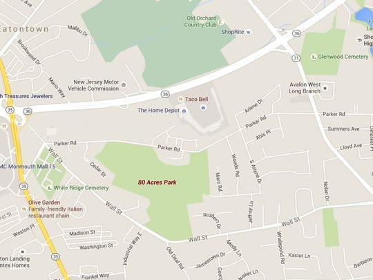 The location of 80 Acres Park in Eatontown.