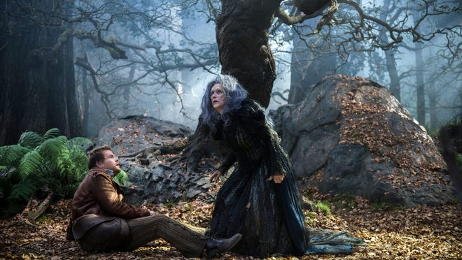 "James Corden and Meryl Streep star in ""Into the Woods."""