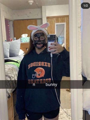 """Bridgewater State University President Frederick Clark Jr. says the student depicted in this image in no longer a member of the Bridgewater State community. This photo surfaced earlier in the week of her wearing blackface, bunny ears and an Uxbridge Spartans sweatshirt, that has the N-word, then the word """"bunny,"""" overlaid on top of it."""