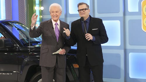 Show #7073K -- Bob Barker Returns To The Price Is Right! Happy April Fools' Day! You won't believe what THE PRICE IS RIGHT pulled off this year. Tune in for the return of Bob Barker on Wednesday, April 1 (11:00 AM-12:00 Noon, ET; 10:00-11:00 AM, PT) on the CBS Television Network. Pictured: Bob Barker with current host Drew Carey.  Photo:  ©2015 CBS Broadcasting, Inc. All Rights Reserved