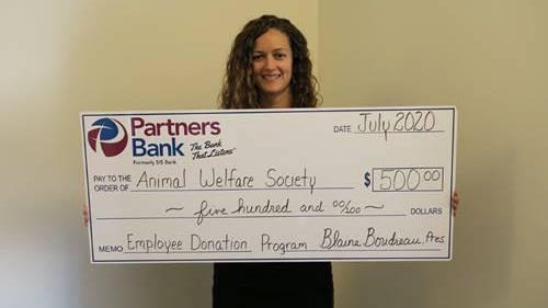 Partners Bank's Mandy Elliston, credit administration manager, is the latest bank employee chosen for the Employee Donation Program, choosing Kennebunk's Animal Welfare Society to receive the gift.