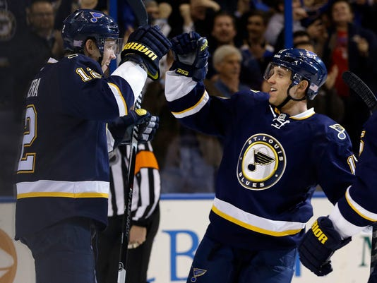 St. Louis Blues' Jori Lehtera, of Finland, is congratulated by Jaden Schwartz, right, in the second period after Lehtera's third goal of an NHL hockey game against the Buffalo Sabres on Tuesday, Nov. 11, 2014, in St. Louis. (AP Photo/Jeff Roberson)