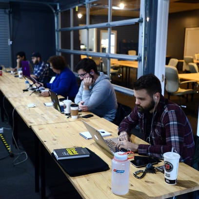 The Iron Yard Academy holds a class at its  in downtown Greenville.