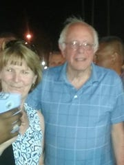 Democratic presidential hopeful Bernie Sanders, who stopped in Palm Springs Thursday night. Sanders and his wife had dinner in downtown Palm Springs and walked Palm Canyon Drive, checking out vendor booths during VillageFest.