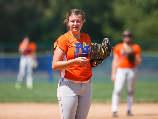 Eastside Rough Riders pitcher McKenzie Pierce squints