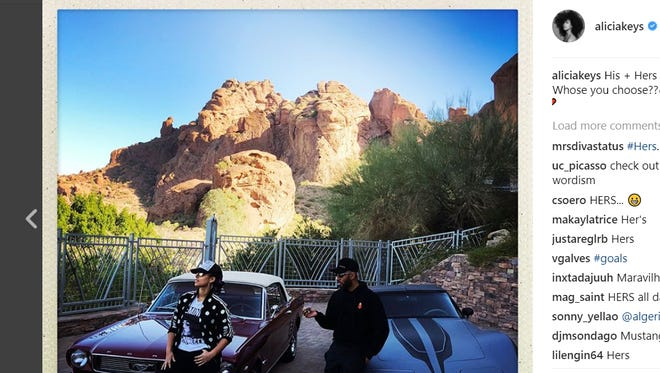 """Alicia Keys, known for the Grammy-award winning """"Girl on Fire,"""" posted an Instagram photo Monday striking a cool pose on the hood of a vintage Mustang with views of Camelback Mountain and Praying Monk in the background."""