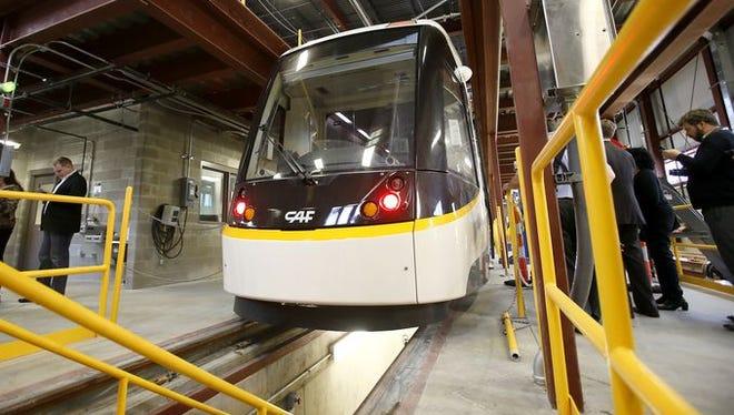 A Cincinnati streetcar inside the Over-the-Rhine maintenance garage.