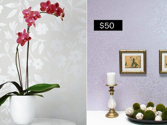 Left, sketchbook floral wallpaper in silver ($140 per roll, hyggeandwest.com); right, Petal Play floral damask wall stencil ($50, royaldesignstudio.com).