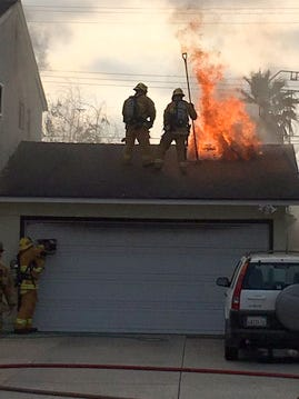 Crews with the Ventura County Fire Department put out a garage fire Friday evening in Camarillo.
