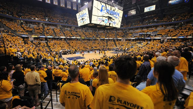 """Indiana Pacers pack the fieldhouse for a """"Gold Out"""" against the Atlanta Hawks during the first-round Eastern Conference playoff game at Bankers Life Fieldhouse, Saturday, April 19, 2014, in Indianapolis."""