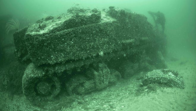Under sea exploration finds a tank, from the PBS show 'Nova: D-Day's Sunken Secrets.'
