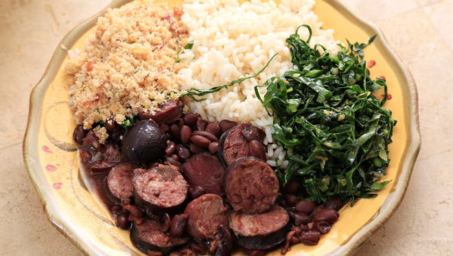 A typical plate of brazilian dishes, created by Valquiria Fernandes and her niece Camilla Roberts in Goodyear.