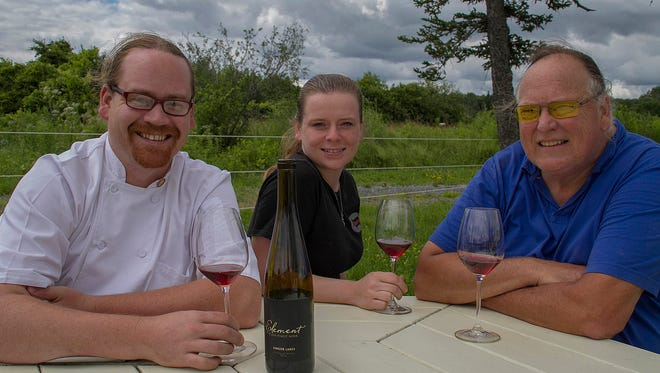 Christopher Bates, shown here with his wife, Isabel Bogadtke, and dad, Robert Bates, named one of the 2016 Sommeliers of the Year by Food and Wine Magazine.
