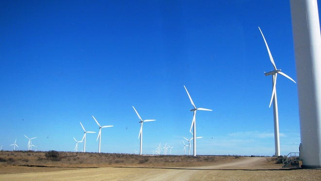 The 166-megawatt Hackberry Wind Farm near Albany, Texas, shown here is part of  Microsoft Corp.'s effort to boost its use of renewable energy. A study published on Sept. 15, 2014, finds that such wind turbines kill far fewer birds than do cats or cell towers.