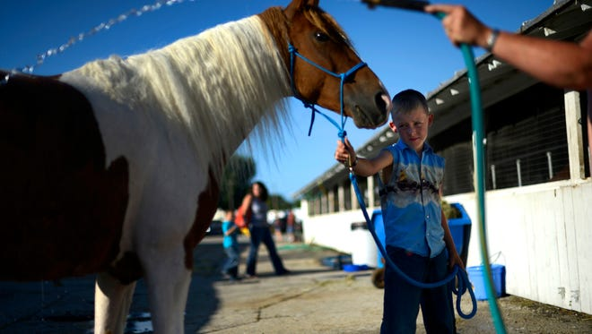 Christian Bilgo, 9, of De Pere, holds his family horse, Jazz, as his mother hoses Jazz off on Wednesday during the Brown County Fair in De Pere.