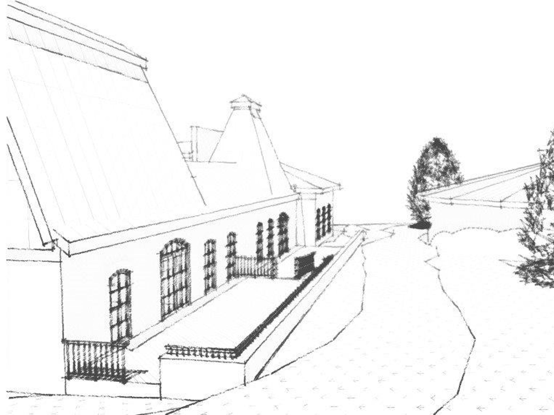 A sketch of a refurbished Waterworks building on Gaines Street. The Cultural Plan Advisory Committee wants to use about $2 million in CRA funds to refurbish the building for arts uses.