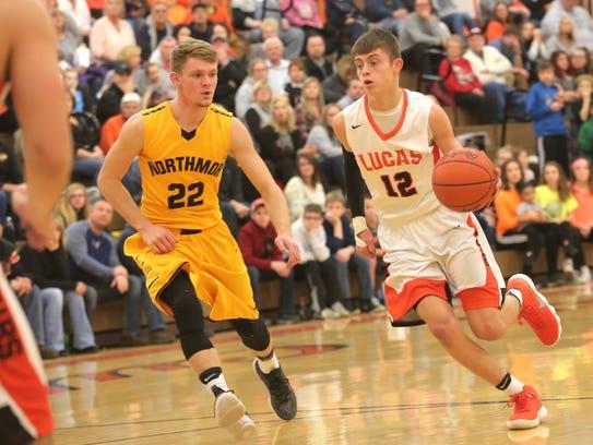 The Lucas boys varsity basketball team played against