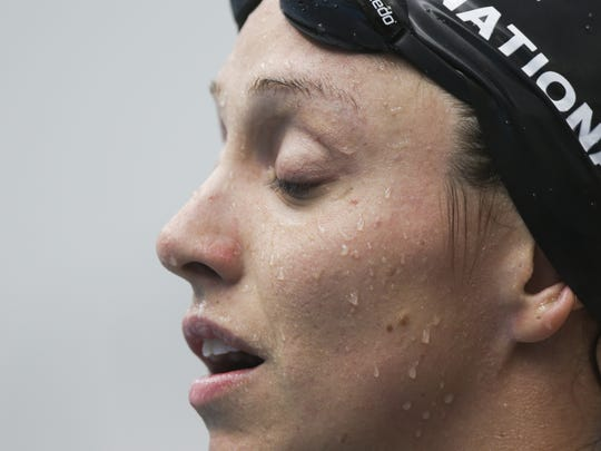 Lexi Laird after competing in the Women's 200 LC Meter Backstroke, C-Final, at the 2016 Arena Pro Series Meet at the Natatorium at IUPUI on June 5, 2016.
