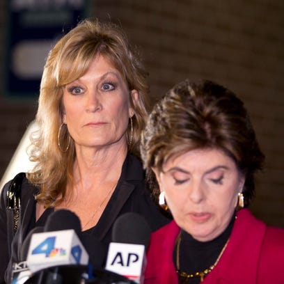 Gloria Allred, r, and her client Judy Huth in December