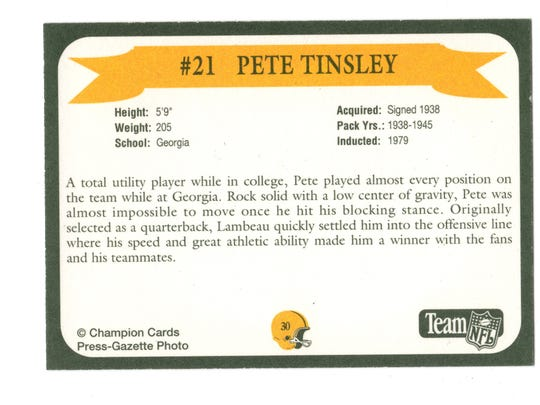 Packers Hall of Fame player Pete Tinsley