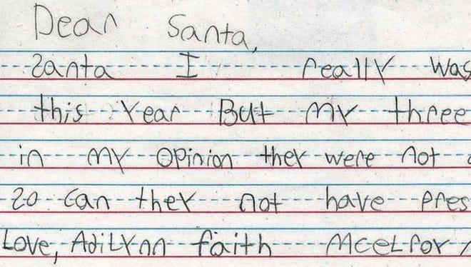 A letter to Santa Claus from Adilynn Faith.