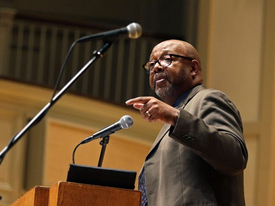 Pulitzer Prize-winning columnist and author Leonard Pitts speaks at Monday's Fox Cities Dr. Martin Luther King Jr. Community Celebration at Lawrence University's  Memorial Chapel.