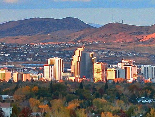 The Reno skyline is seen at sunset near Belsera off