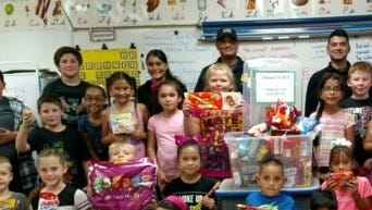 Memorial Elementary School students carried out the tradition of honoring the city and county's first responders, Deming Police, Luna County Sheriff's Office, Deming Fire Department and New Mexico State Police by providing treats for the local heroes. The Memorial student body has held this special assembly since the year after Sept. 11, 2001.