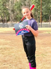 Julianna Kennedy won in Girls 11-12 Hitting.