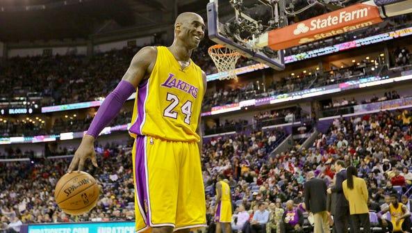 Los Angeles Lakers forward Kobe Bryant (24) reacts