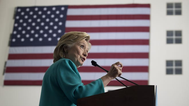 In this file photo, Democratic presidential candidate Hillary Clinton speaks at a campaign event at Truckee Meadows Community College in Reno, Nevada
