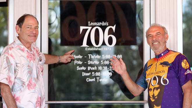 Steve Solomon, left, and Mark Newman, the co-owners of Leonardo's 706, pose Monday for a goodbye photo outside their restaurant that has closed after 47 years. With restrictions on restaurants since the start of the COVID-19 pandemic, the longtime Gainesville business partners decided it was time to close the restaurant.