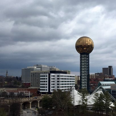Clouds loom over Downtown Knoxville as severe storms