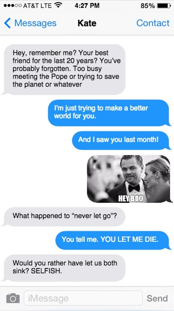 If Kate Winslet texted Leo DiCaprio before the Oscars...