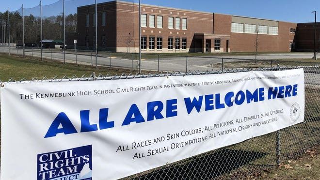 A sign from the Kennebunk High School Civil Rights Team shows support for all at KHS.