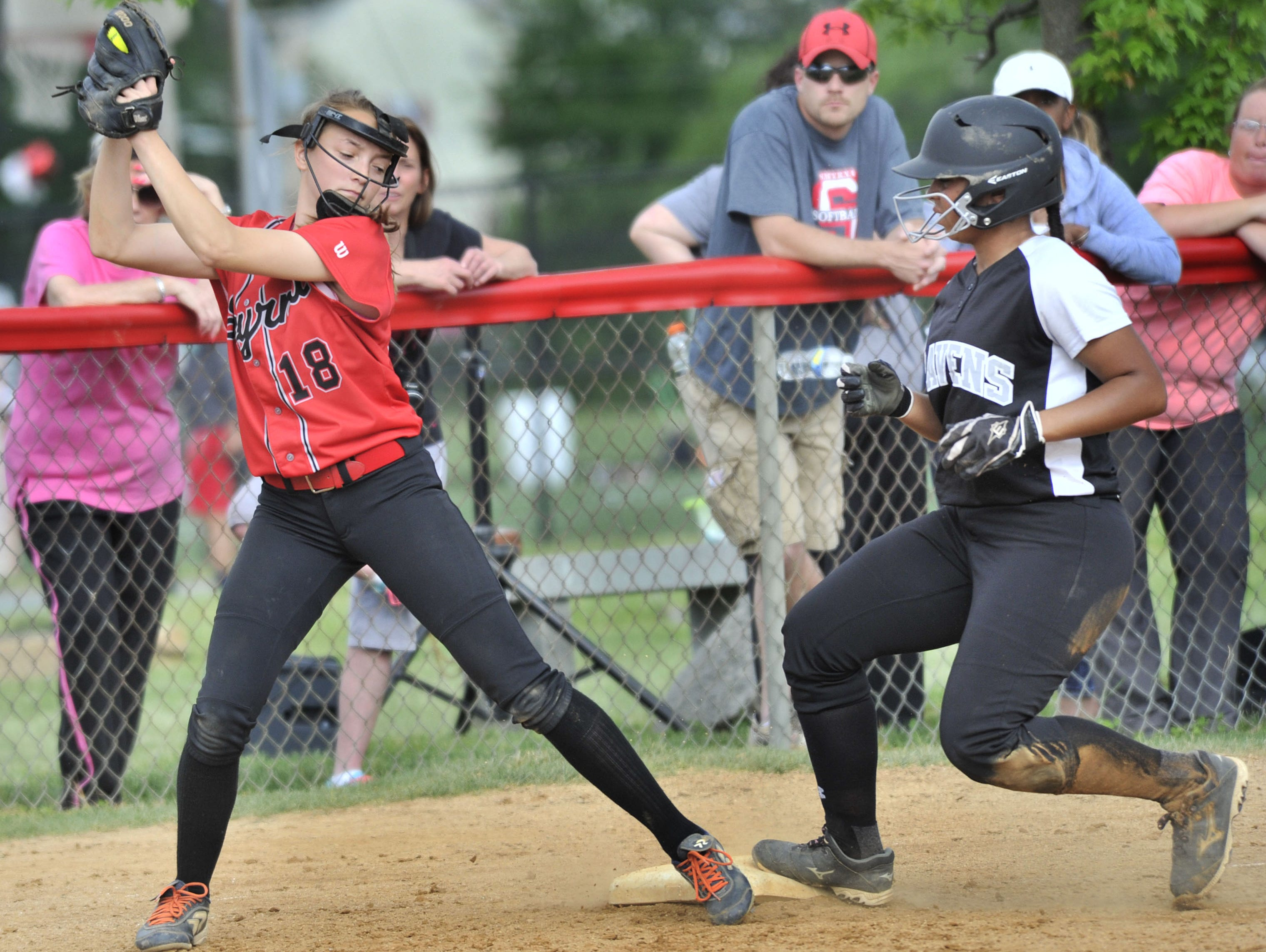 Sussex Tech's Madison Watson advanced to third when a pitch got away from the Eagles' catcher early in the game Thursday. Sarah Miller of the Eagles takes in a late throw.
