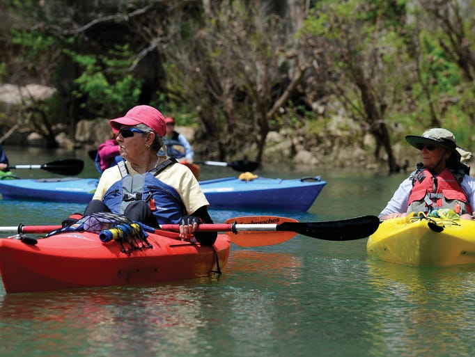 Dot Bailey (left) and Rose Linnear take in the scenery on a recent float trip.