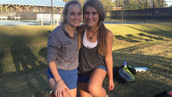 Senior Paula Pieper, left, with doubles partner Abby Riddle, advanced to her 11th state final when the Cavaliers beat Southside Christian 7-0 Monday in the Class AA girls tennis Upper State championship match.