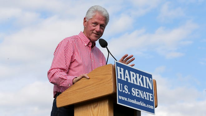 Former President Bill Clinton speaks during the annual Harkin Steak Fry on Sunday, Sept. 14, 2014, in Indianola, Iowa.