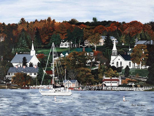 """""""Ephraim Harbor Fall Splendor"""" by Kristy Ohman, part of the """"Right Off the Wall"""" exhibit through Jan. 9 at Meadows Art Gallery in Sister Bay."""