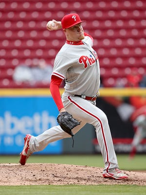 The Phillies' Daniel Stumpf throws a pitch in the fourth inning during the game April 7 against the Cincinnati Reds  at Great American Ball Park. Stumpf was suspended for 80 games by MLB on Wednesday after testing positive for a performance enhancing drug.